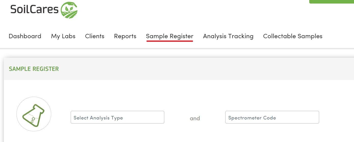 register a soil sample soilcares